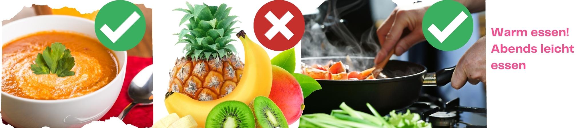 Warm und abends leicht esssen für die Gesundheit